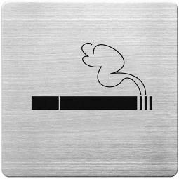 "Hinweisschild ""Rauchen erlaubt"", Edelstahl, HxBxT 90 x 90 x 1 mm"