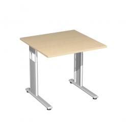 Schreibtisch ELEGANCE höhenverstellbar, Dekor Ahorn, Gestell Silber, BxTxH 800 x 800 x 680-820 mm