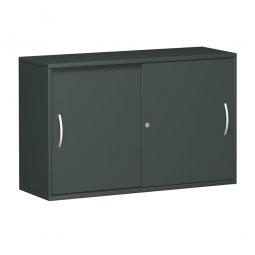 Anstell-Schiebetürenschrank PRO, 2 Ordnerhöhen, graphit, BxTxH 1200x425x720 mm