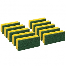Padschwamm, gelb-grün, LxBxH 150x70x45 mm, Scheuerschwamm, stark scheuernd, Paket = 10 Schwämme