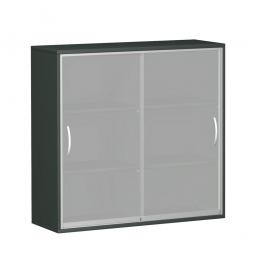 Glas-Schiebetürschrank PRO 3 Ordnerhöhen, graphit, BxHxT 1200x1152x425 mm