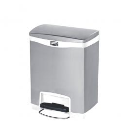 Tretabfalleimer SlimJim, 30 Liter, Edelstahl, weiß, LxBxH 428x326x556 mm, Pedal an der Breitseite