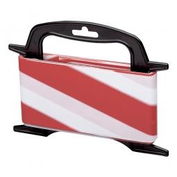 Absperrband auf Kunststoff-Haspel, Breite 80 mm, Länge 25 m, rot / weiß