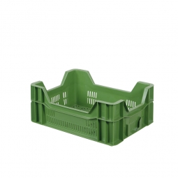 Eurobehälter, geschlitzt, PE-HD, LxBxH 400 x 300 x 165 mm, 10 Liter, grün