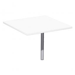 Verkettungsplatte ELEGANCE Volleck mit Stützfuß, Dekor Weiß, Gestell Silber, BxTxH 800x800x680-820 mm