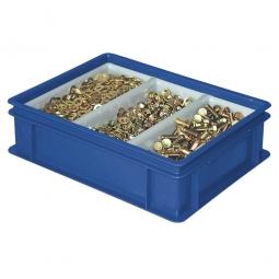 Sortierbehälter LxBxH 400x300x120 mm, blau, mit 3-Mulden-Sortiereinsatz, Gewicht 1,4 kg