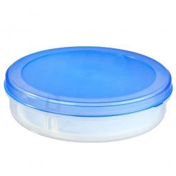 Tortenbox mit Tortenheber, 5,8 Liter, ØxH 350x90 mm, Box glasklar, Deckel blau