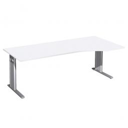 Schreibtisch PREMIUM höhenverstellbar, rechts, Weiß/Silber, BxTxH 2000x800/1000x680-820 mm
