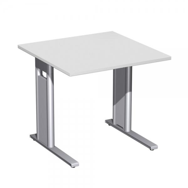 Schreibtisch Premium Hohenverstellbar Quadrat Lichtgrau Silber