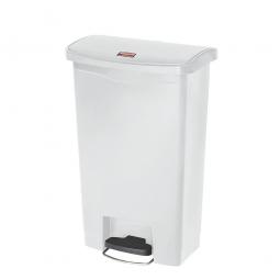 Tretabfalleimer SlimJim, 50 Liter, weiß, LxBxH 457x292x719 mm, Polyethylen, Pedal an der Breitseite