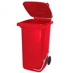 Müllbehälter, 80 Liter, rot, mit Fußpedal, Polyethylen-Kunststoff (PE-HD), HxBxT 930x445x520 mm