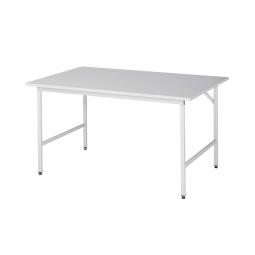 Arbeitstisch mit Melaminharz-Tischplatte, BxTxH 1500x1000x800-850 mm, Gestell lichtgrau RAL 7035