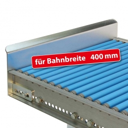 Endanschlag aus Stahlblech für Bahnbreite: 400 mm, Fest verschraubte Ausführung, Oberfläche glanzverzinkt