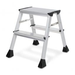 Alu-Doppel-Klapptritt, 2x 2 Stufen, Standhöhe 440 mm, max. Arbeitshöhe 2440 mm, Gewicht 1,7 kg