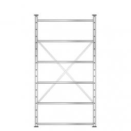 Fachbodenregal mit 6 Böden, Stecksystem, Grundregal, doppelseitige Ausführung, BxTxH 1070 x 630 (2x315) x 2000 mm, Oberfläche glanzverzinkt