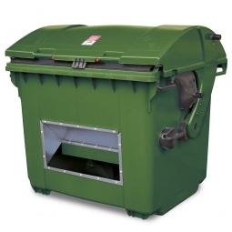 Streugutbehälter mit Entnahmeöffnung, grün, 1100 Liter, BxTxH 1365 x 1060 x 1450 mm