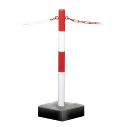 Mobiler Kettenständer mit Bodenwanne, Stahl-Ständer, rot/weiß kunststoffbeschichtet