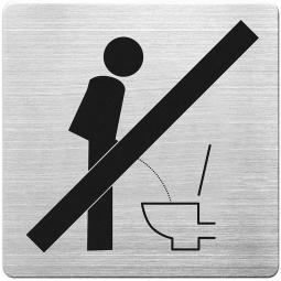 """Hinweisschild """"Bitte setzen"""", Edelstahl, HxBxT 90x90x1 mm"""