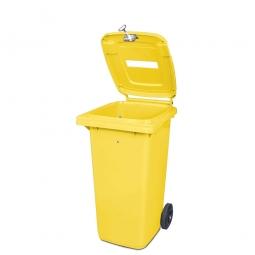 Müllbehälter mit Papiereinwurf, verschließbar, 120 Liter, gelb