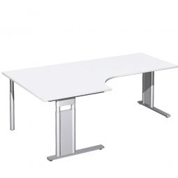 Schreibtisch PREMIUM, Tischansatz links, Weiß/Silber, BxTxH 2000x800/1200x680-820 mm