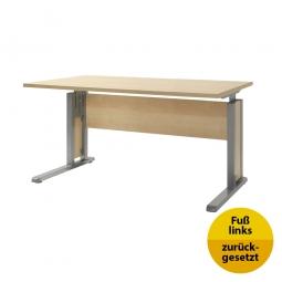 Verkettungs-Schreibtisch, Gestell silber, Platte Ahorn, BxTxH 1200x800x680-820 mm