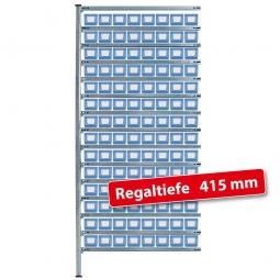 Fachbodensteck-Anbauregal, BxTxH 1000 x 415 x 2000 mm, 15 Böden, mit 112 Regalkästen LxBxH 300 x 117 x 90 mm, Farbe hellblau