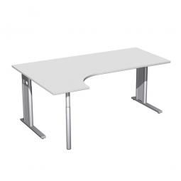 Schreibtisch PREMIUM, Schrankansatz links, Lichtgrau/Silber, BxTxH 1800x800/1200x680-820 mm