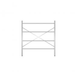 Aluminiumregal mit 4 Gitterböden, Stecksystem, BxTxH 1500 x 600 x 1600 mm, Nutztiefe 580 mm