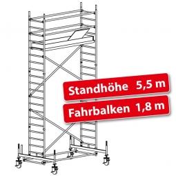 Fahrgerüst Plettac Alu Star 80 mit Fahrbalken, Arbeitshöhe 7,5 m, Gerüsthöhe 6,75 m, Standhöhe 5,5 m