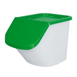 Sortierbox, 40 Liter, Korpus weiß, Deckel grün,  Polypropylen (PP), LxBxH 610 x 430 x 450 mm