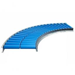 Leicht-Rollenbahnkurve: 45°, Innenradius: 800 mm, Bahnbreite: 300 mm, Achsabstand: 125 mm, Tragrollen Ø 50x2,8 mm