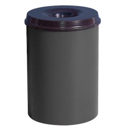 Sicherheits-Papierkorb, Inhalt 50 Liter, lichtgrau, HxØ 630x335 mm, Stahlblech, Einwurföffnung Ø 115 mm