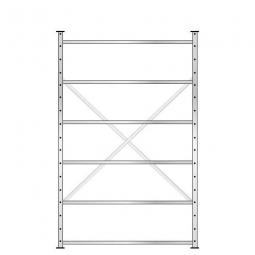 Fachbodenregal mit 6 Böden, Stecksystem, Grundregal, doppelseitige Ausführung, BxTxH 1270 x 630 mm (2x315 mm) x 2000 mm, Oberfläche glanzverzinkt