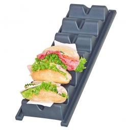 Snack-Präsenter in Wellenform mit Logo, LxBxH 590 x 190 x 60 mm, anthrazit