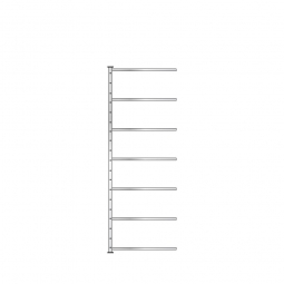 Ordner-Steck-Anbauregal, einseitige Ausführung, HxBxT 2300x1235x315 mm, Oberfläche glanzverzinkt