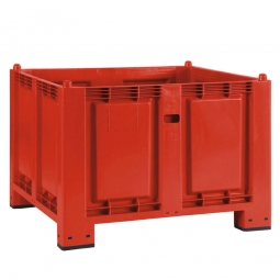 Palettenbox mit 4 Füßen, LxBxH 1200x800x850 mm, rot, Boden/Wände geschlossen. Tragkraft 500 kg