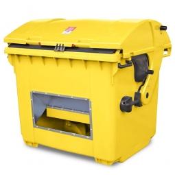 Streugutbehälter mit Entnahmeöffnung, gelb, 1100 Liter, BxTxH 1365 x 1060 x 1450 mm