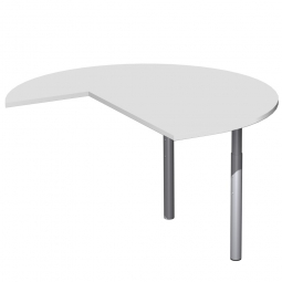 Dreiviertelkreis-Anbauplatte PREMIUM rechts, Lichtgrau/Silber, BxTxH 1200x1200x680-820 mm, höhenverstellbar