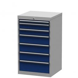 System-Schubladenschrank mit 7 Schubladen, BxTxH 600x575x1020 mm, lichtgrau/enzianblau