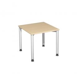 Schreibtisch Komfort, Gestell silber, Dekor Ahorn, BxTxH 800x800x720 mm