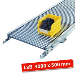Klein-Rollenbahn, LxB 3000 x 540 mm, Bahnbreite: 500 mm, Achsabstand: 25 mm, Tragrollen Ø 20x1,0 mm
