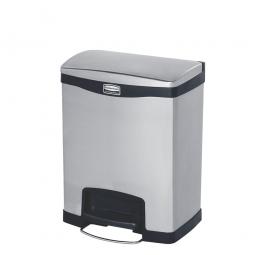 Tretabfalleimer SlimJim, 30 Liter, Edelstahl, schwarz, LxBxH 428x326x556 mm, Pedal an der Breitseite