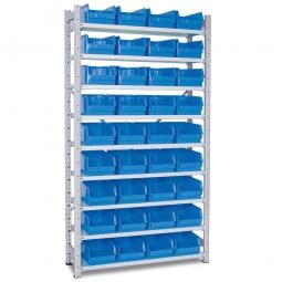 Steckregal, verzinkt, HxBxT 2000x1070x315 mm, 9 Böden, 36 Sichtboxen LB 3 Farbe blau