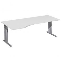 Schreibtisch PREMIUM höhenverstellbar, links, Lichtgrau/Silber, BxTxH 2000x800/1000x680-820 mm
