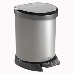 Tretabfalleimer, 5 Liter, HxBxT 227x246x210 mm, Deckel schwarz, Korpus silber