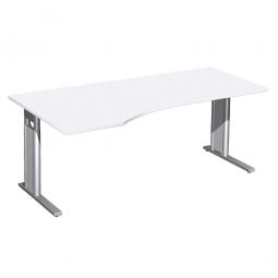 Schreibtisch PREMIUM höhenverstellbar, links, Weiß/Silber, BxTxH 1800x800/1000x680-820 mm