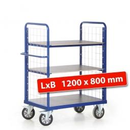 Etagenwagen mit 2 Gitterwänden/3 Ladeflächen, LxBxH 1390x800x1500 mm, Tragkraft 1200 kg