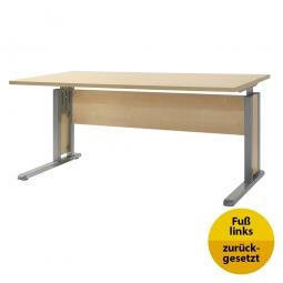 Verkettungs-Schreibtisch, Gestell silber, Platte Ahorn, BxTxH 1600x800x680-820 mm