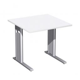 Schreibtisch PREMIUM höhenverstellbar, Quadrat, Weiß/Silber, BxTxH 800x800x680-820 mm