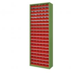 Schrank mit Sichtboxen, ohne Türen, HxBxT 1980x700x300 mm, resedagrün RAL 6011